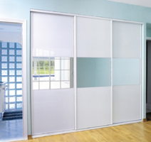 Sliding doors Comete lacquered glass White and miror