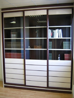 Bookcases with sliding doors Lamelles Fantaisie Duo clear glass