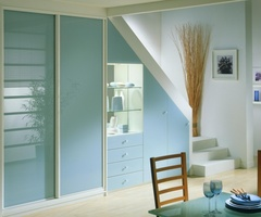 Sliding doors and opening doors lacquered glass light Blue